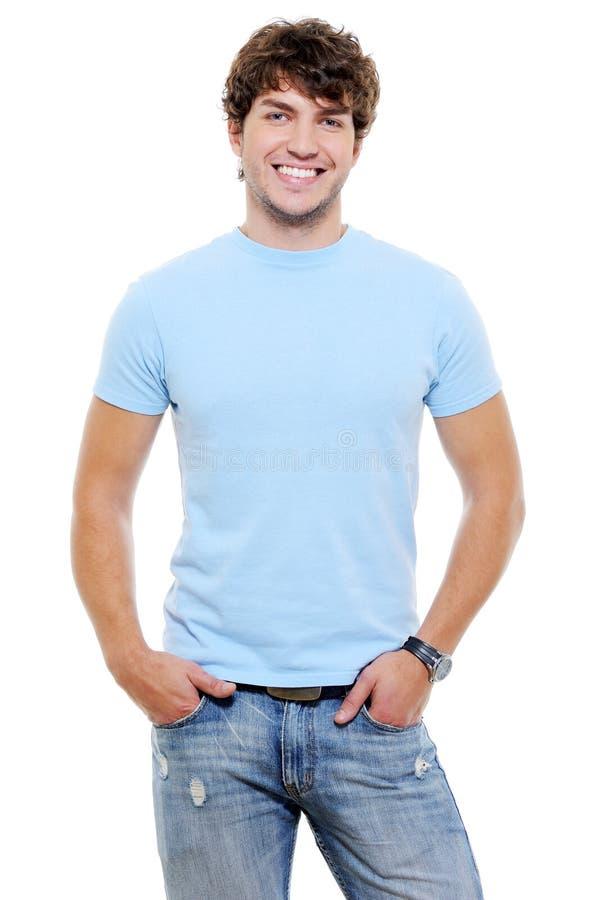 Verticale d'heureux type heureux de sourire photographie stock libre de droits