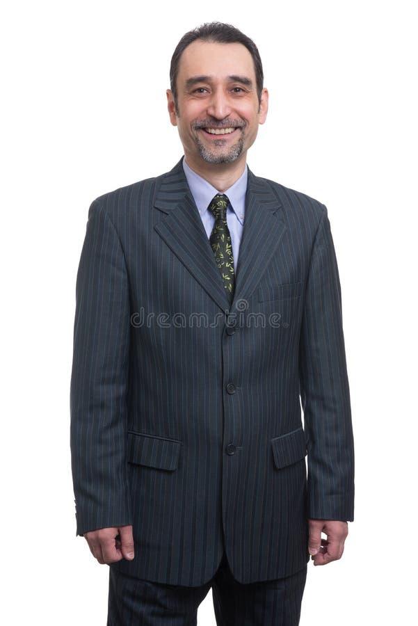 Verticale d'homme d'affaires de sourire heureux images libres de droits