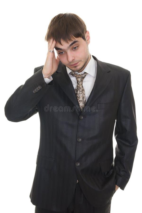Verticale d'homme fatigué triste déprimé d'affaires photo libre de droits