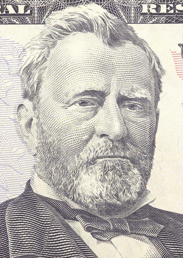 Verticale d'Ulysse S Grant font face sur macro de billet d'un dollar des USA cinquante ou 50, plan rapproché d'argent des Etats-U photographie stock libre de droits