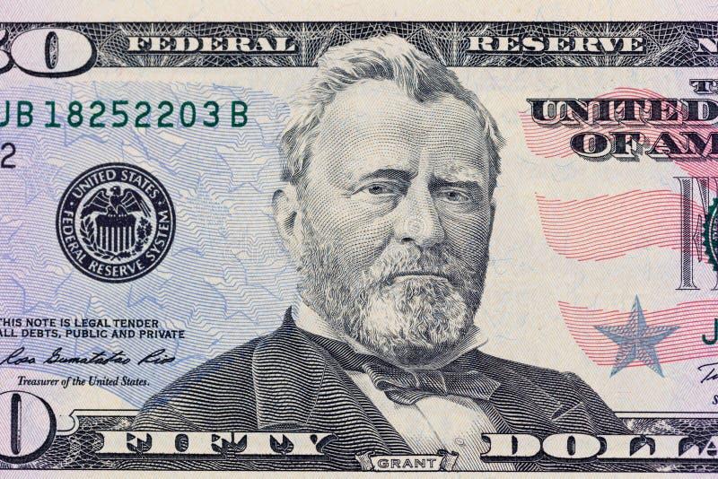 Verticale d'Ulysse S Grant sur 50 billet d'un dollar la macro photo Détail de devise des Etats-Unis d'Amérique photos stock