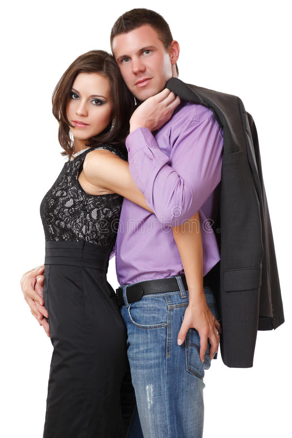Verticale d'un couple élégant dans le studio photos stock