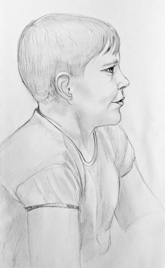 Verticale d'un garçon dans le profil illustration libre de droits