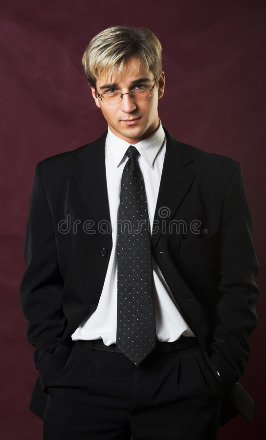 Verticale d'un jeune homme d'affaires sérieux images stock