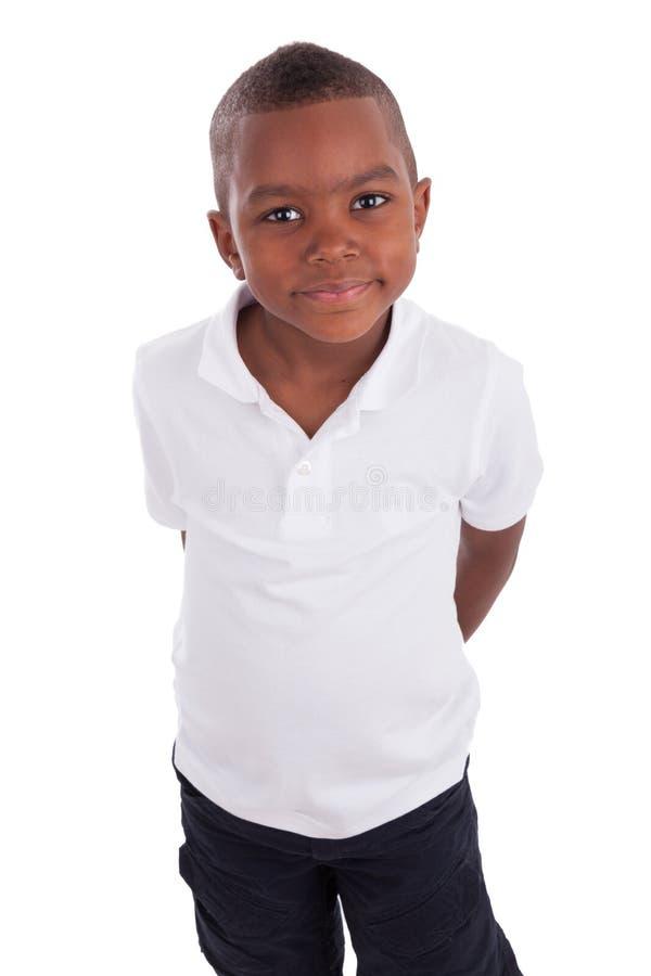 Verticale d'un petit garçon d'afro-américain mignon photo stock