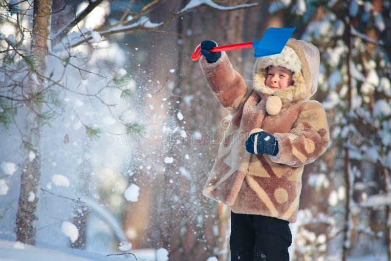 Verticale d'un petit garçon dans une forêt de l'hiver photographie stock libre de droits