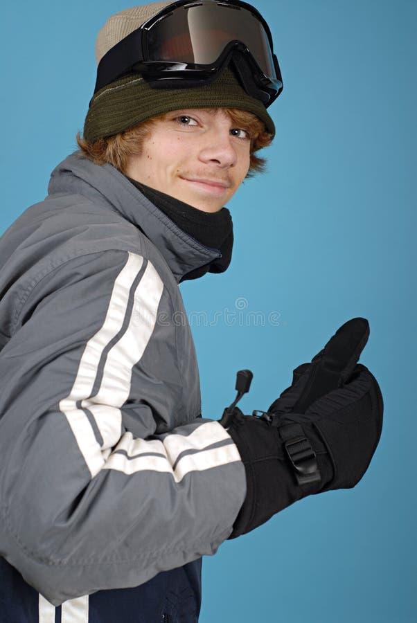 Verticale d'un snowboarder images libres de droits