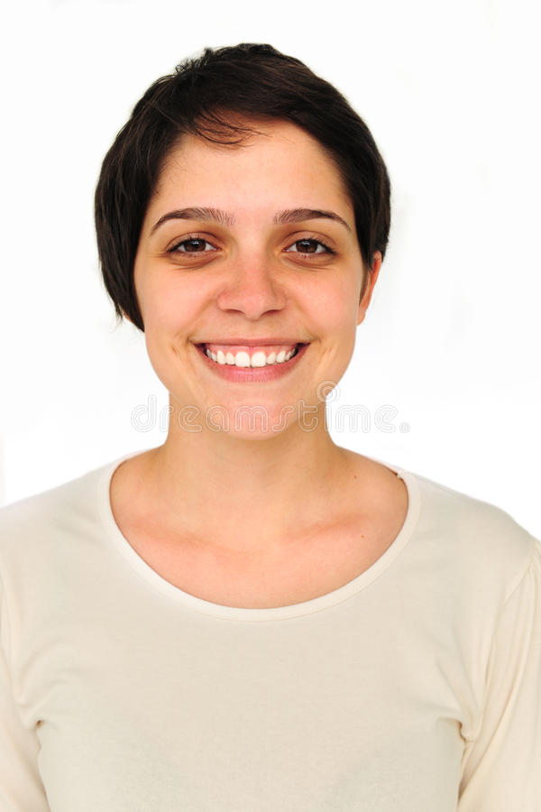 Verticale d'un sourire heureux de jeune femme images libres de droits