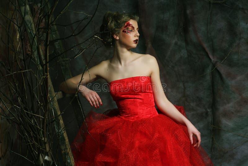 Verticale d'une belle femme dans la robe médiévale d'ère Tiré dans un s image stock