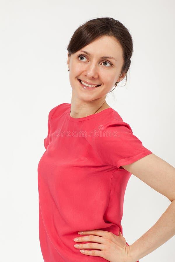 Verticale d'une belle jeune femme de sourire images libres de droits
