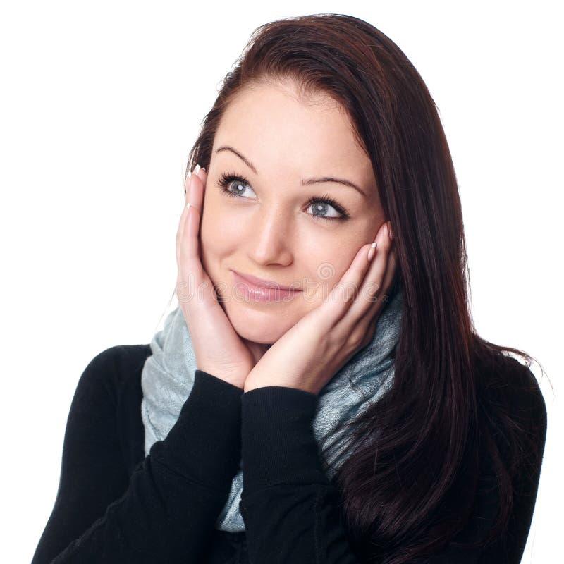 Verticale d'une femme dans le studio image libre de droits