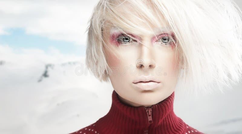 Verticale d'une femme de l'hiver photo libre de droits
