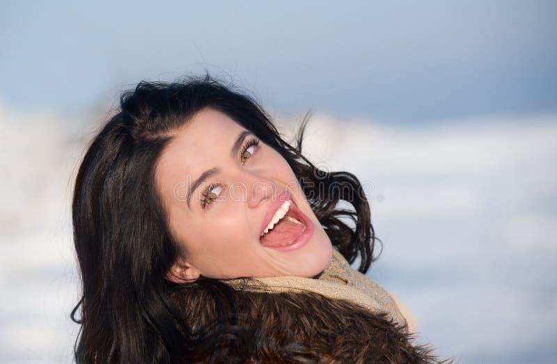 Verticale d'une fille appréciant le jour d'hiver photo stock
