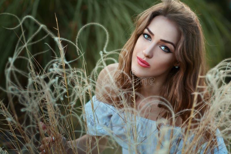 Verticale d'une fille dans l'herbe sèche image libre de droits