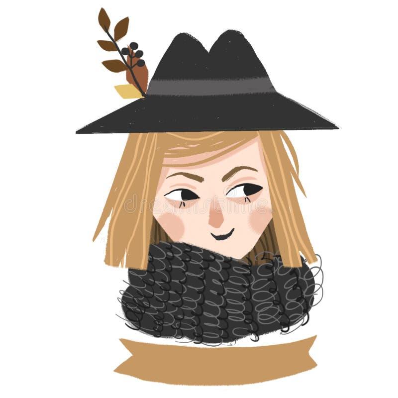 Verticale d'une fille dans un chapeau noir illustration libre de droits