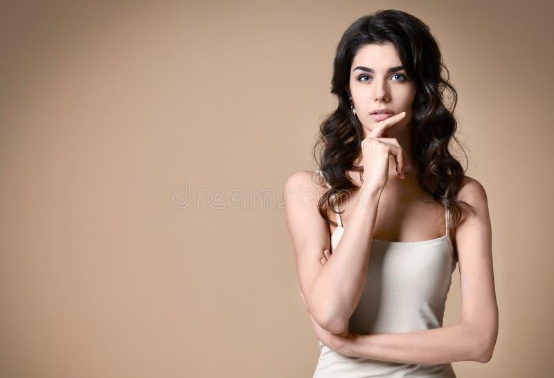 Verticale d'une jeune femme à la mode attirante de brune images libres de droits