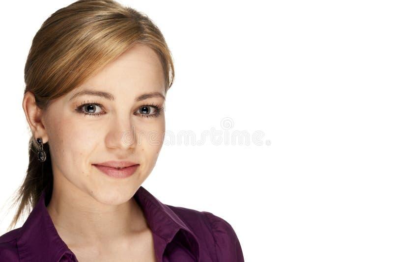 Verticale d'une jeune femme blonde d'affaires photos libres de droits