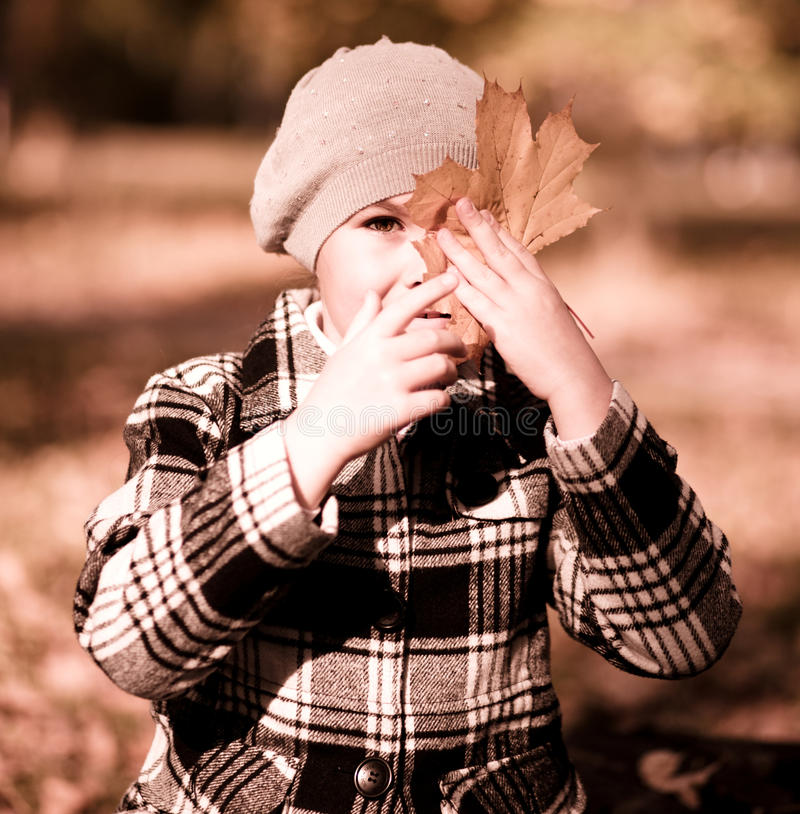 Download Verticale D'une Petite Fille En Stationnement D'automne Photo stock - Image du femelle, pose: 45370064