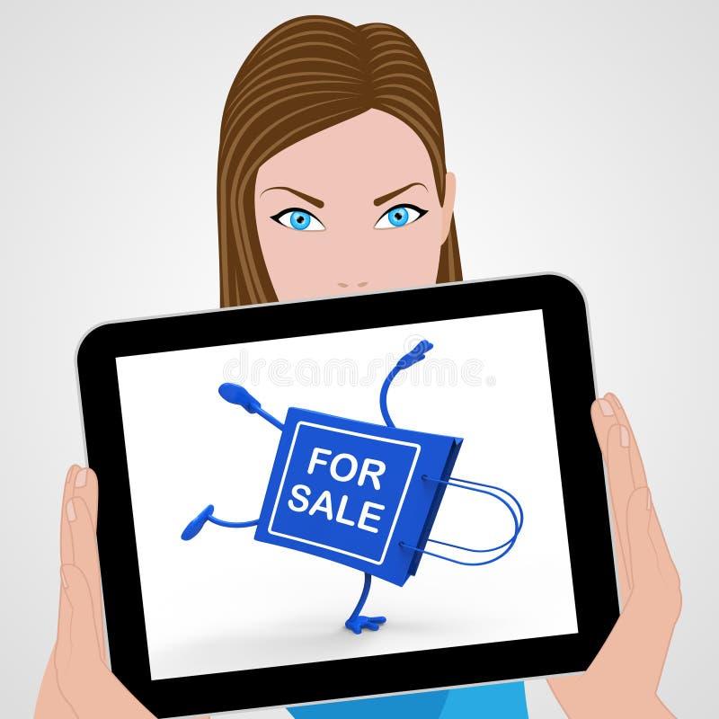 Verticale da vendere le esposizioni del sacchetto della spesa che vendono offerta venduta royalty illustrazione gratis