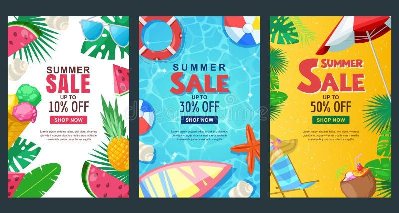 Verticale de bannerreeks van de de zomerverkoop Het vectormalplaatje van de seizoenaffiche Tropische achtergronden royalty-vrije illustratie