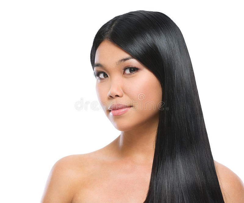 Verticale de beauté de fille asiatique de brunette image libre de droits