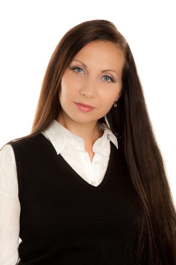 Verticale de belle femme avec le long cheveu images stock