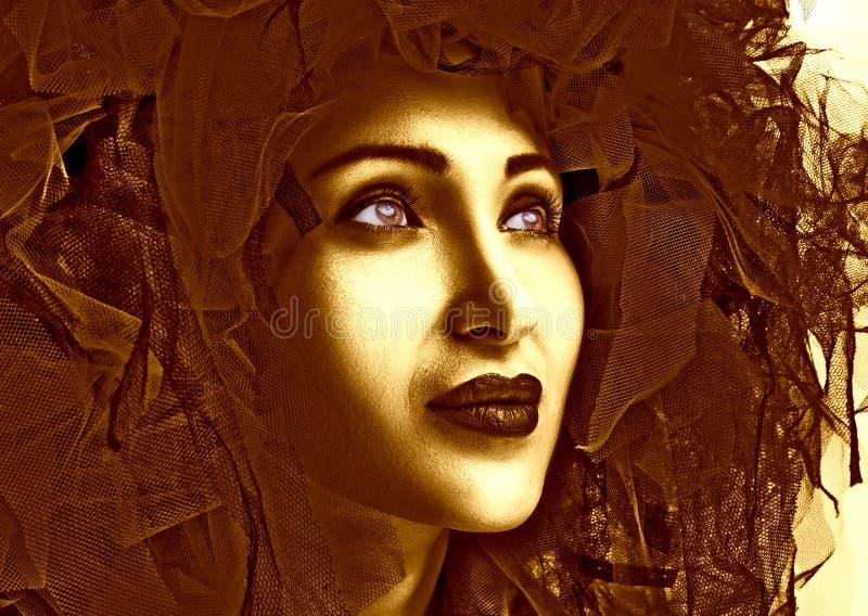 Verticale de belle femme avec les languettes rouges Photo de mode photo libre de droits