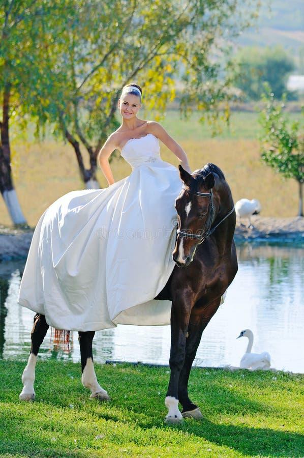 Verticale de belle jeune mariée avec le cheval images libres de droits