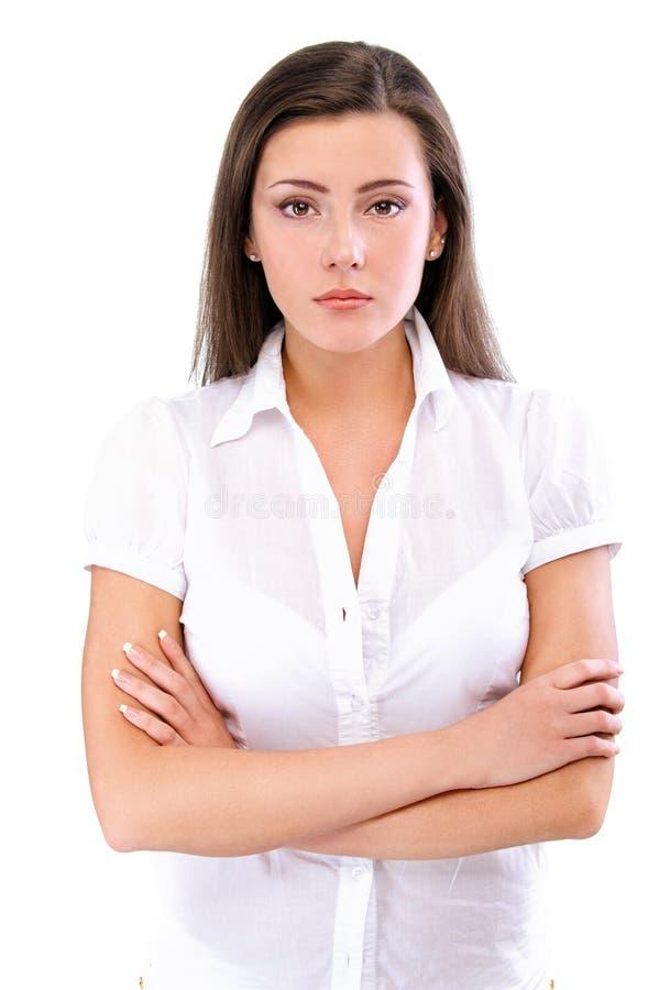 Verticale de brunette avec du charme images stock