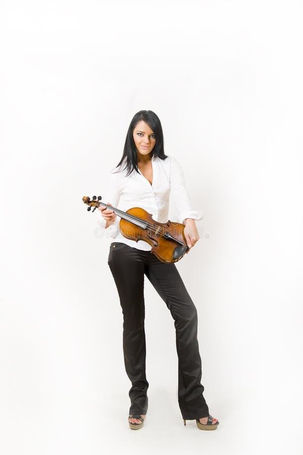 Verticale de charme de femme sexy jouant le violon images stock
