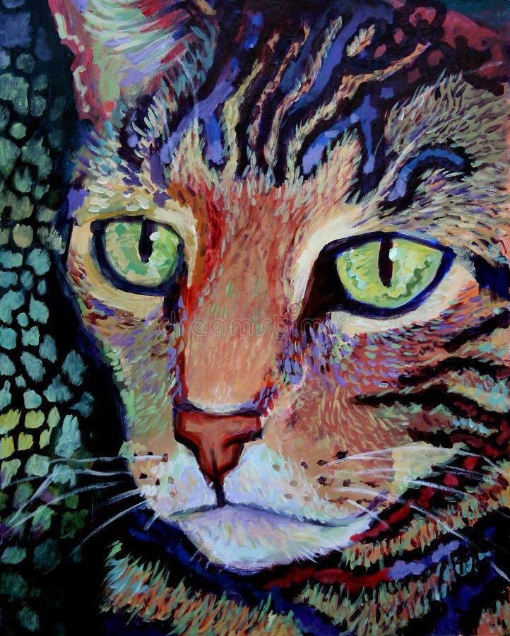 Verticale de chat de tigre - peinture acrylique illustration libre de droits