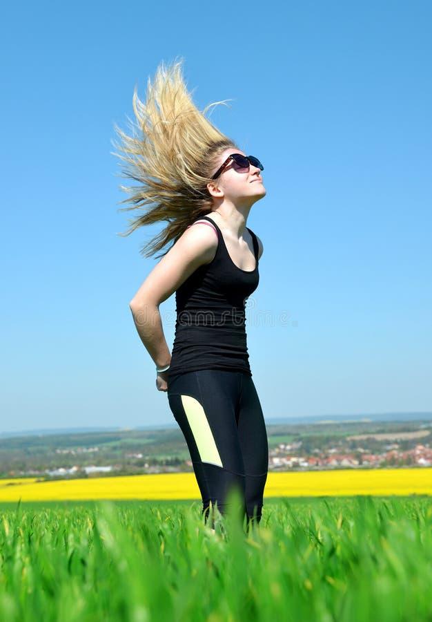 verticale de cheveu de fille longue images libres de droits