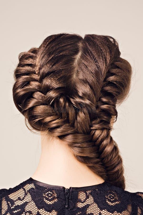 Verticale de coiffure de belle fille de brunette image libre de droits