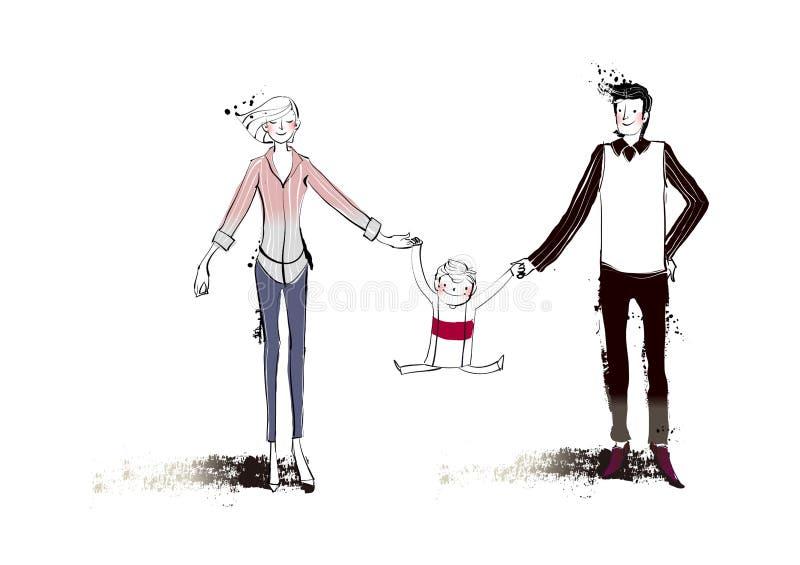 Verticale de famille illustration de vecteur