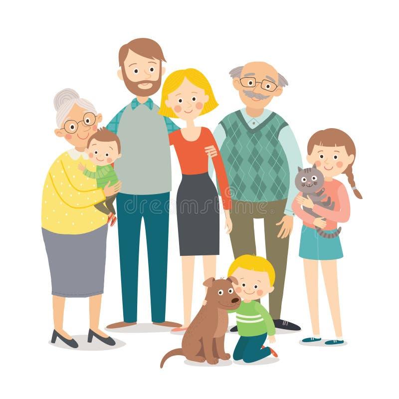Verticale de famille Grande famille multi-de generations heureuse ensemble Illustration tirée par la main du vecteur ENV 10 de ba illustration stock