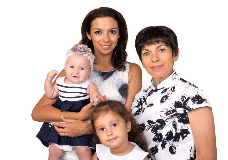 Verticale de famille heureuse Rétablissement trois D'isolement photographie stock