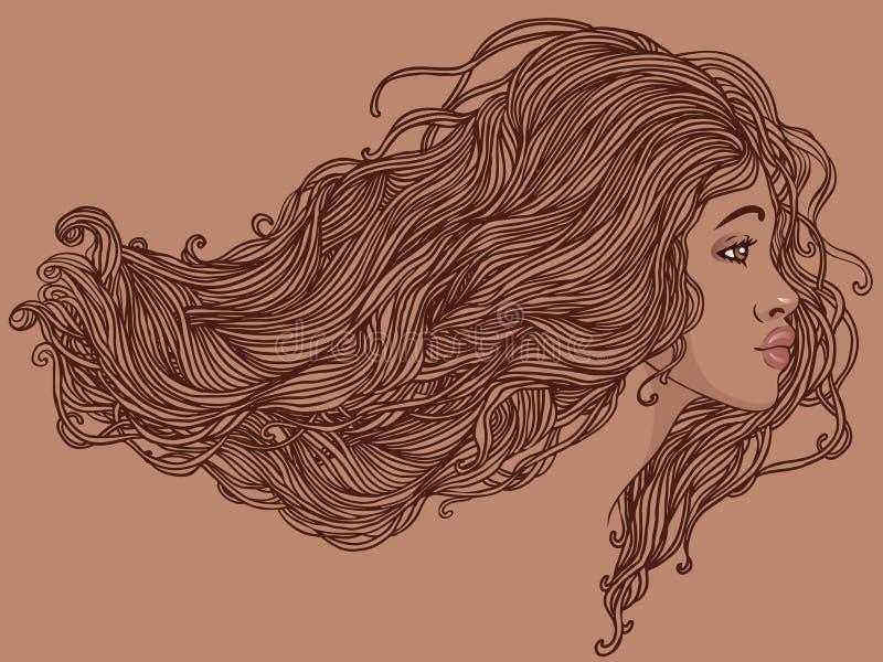 Verticale de femme assez jeune d'afro-américain illustration libre de droits