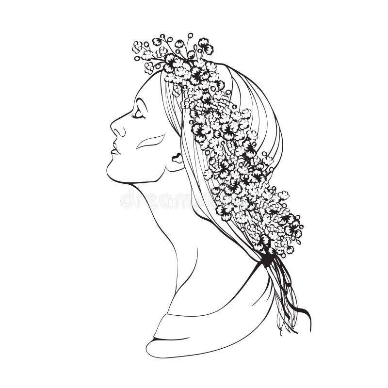 Verticale de femme assez jeune dans la vue de profil Illustrat de vecteur illustration stock