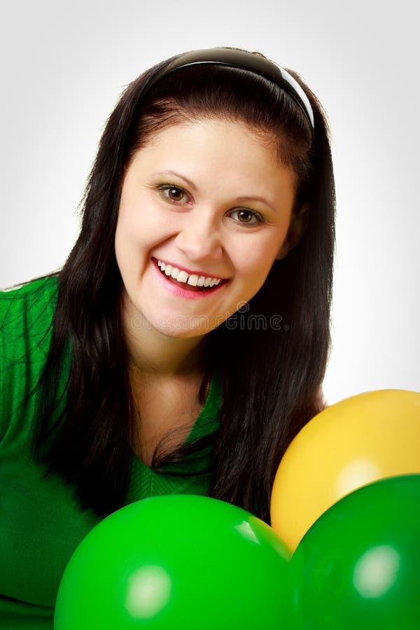 Verticale de femme avec des bulles images stock