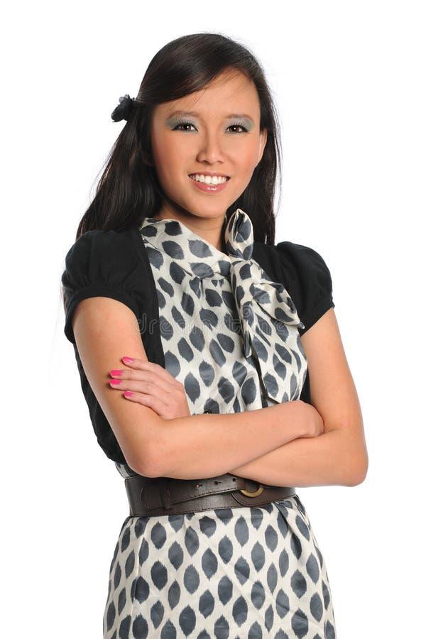 Verticale de femme d'affaires asiatique images libres de droits