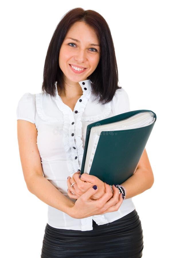 Verticale de femme de sourire heureux d'affaires avec le pli photo stock