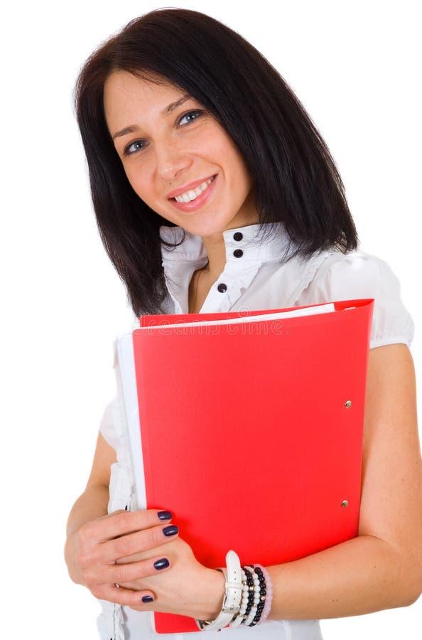 Verticale de femme de sourire heureux d'affaires avec le rouge photos libres de droits