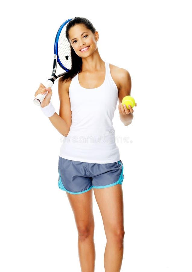 Verticale de femme de tennis photo libre de droits