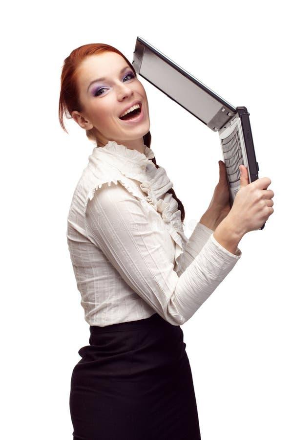 Verticale de femme heureuse d'affaires photo stock