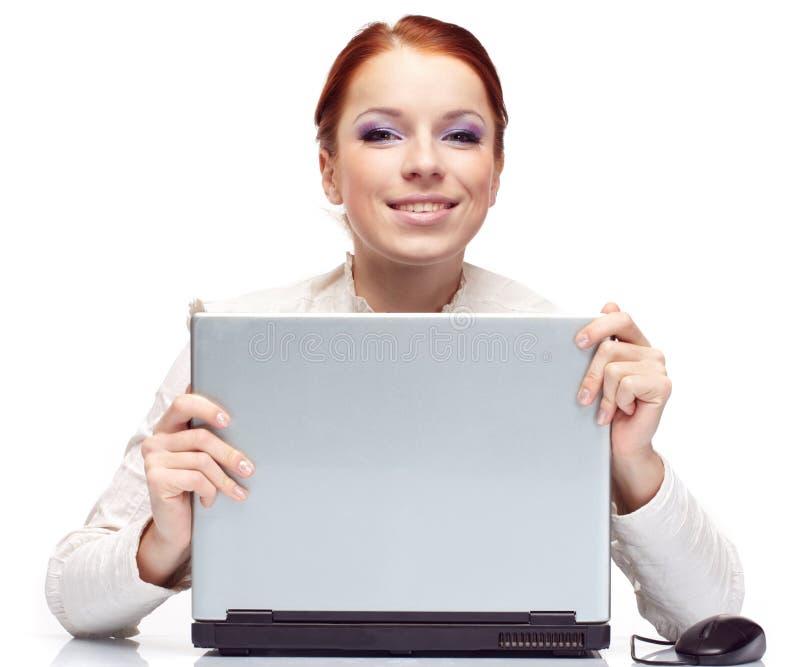 Verticale de femme heureuse d'affaires images stock