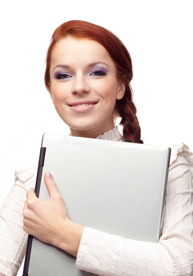 Verticale de femme heureuse d'affaires photos stock