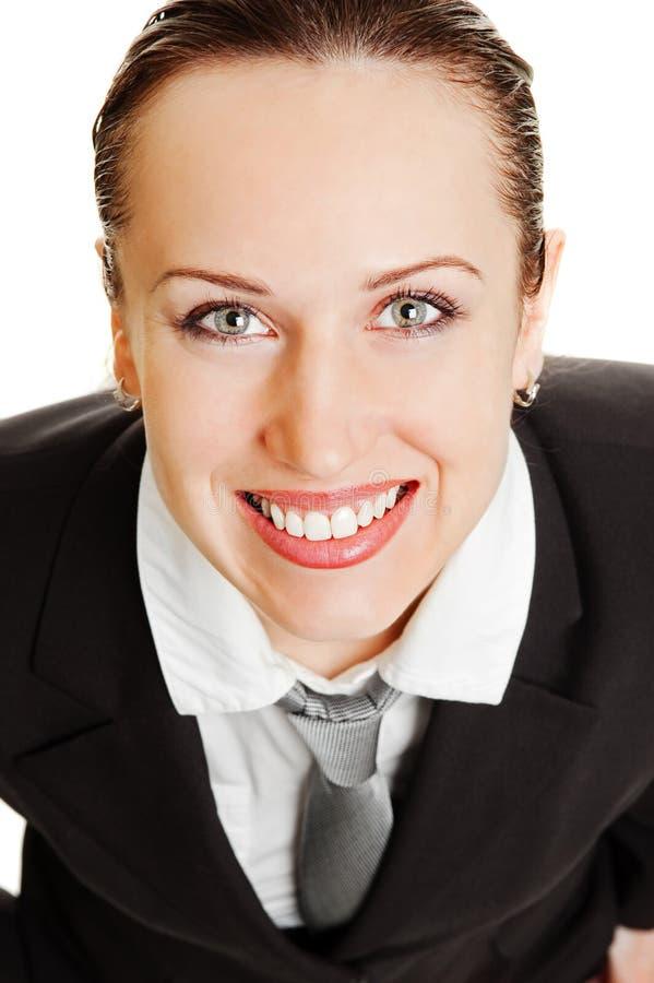Verticale de femme heureuse dans l'usure formelle photos libres de droits