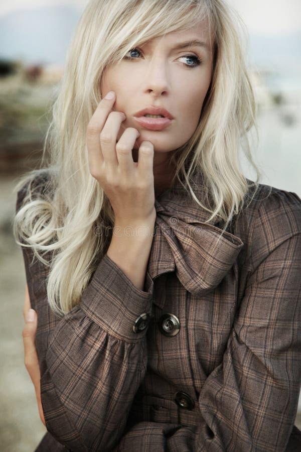 Verticale de fille blonde étonnante image libre de droits