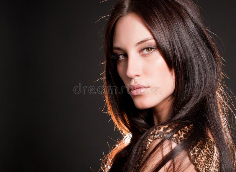 Verticale de fille sexy de brunette attirant images libres de droits