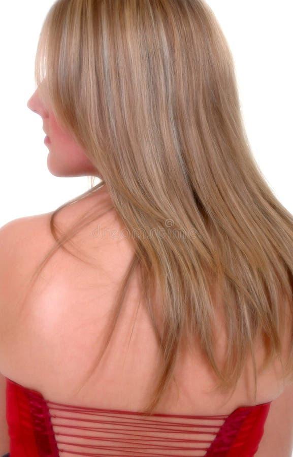 Verticale de fille utilisant le corsage lacé rouge image stock